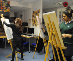 Artists enjoy life drawing session